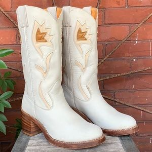FRYE Rare Vintage White Western Boots